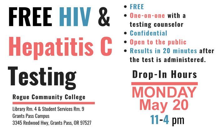 Free HIV and HEPC testing at Redwood campus May 20