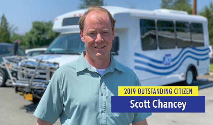 Scott Chancey with JCT bus service earns the RCC Outstanding Citizen award for 2019