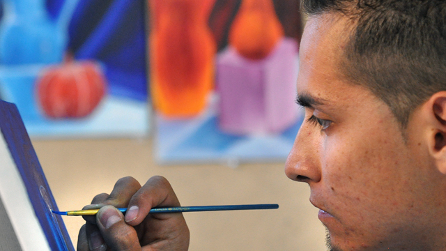 Student in a Painting Class
