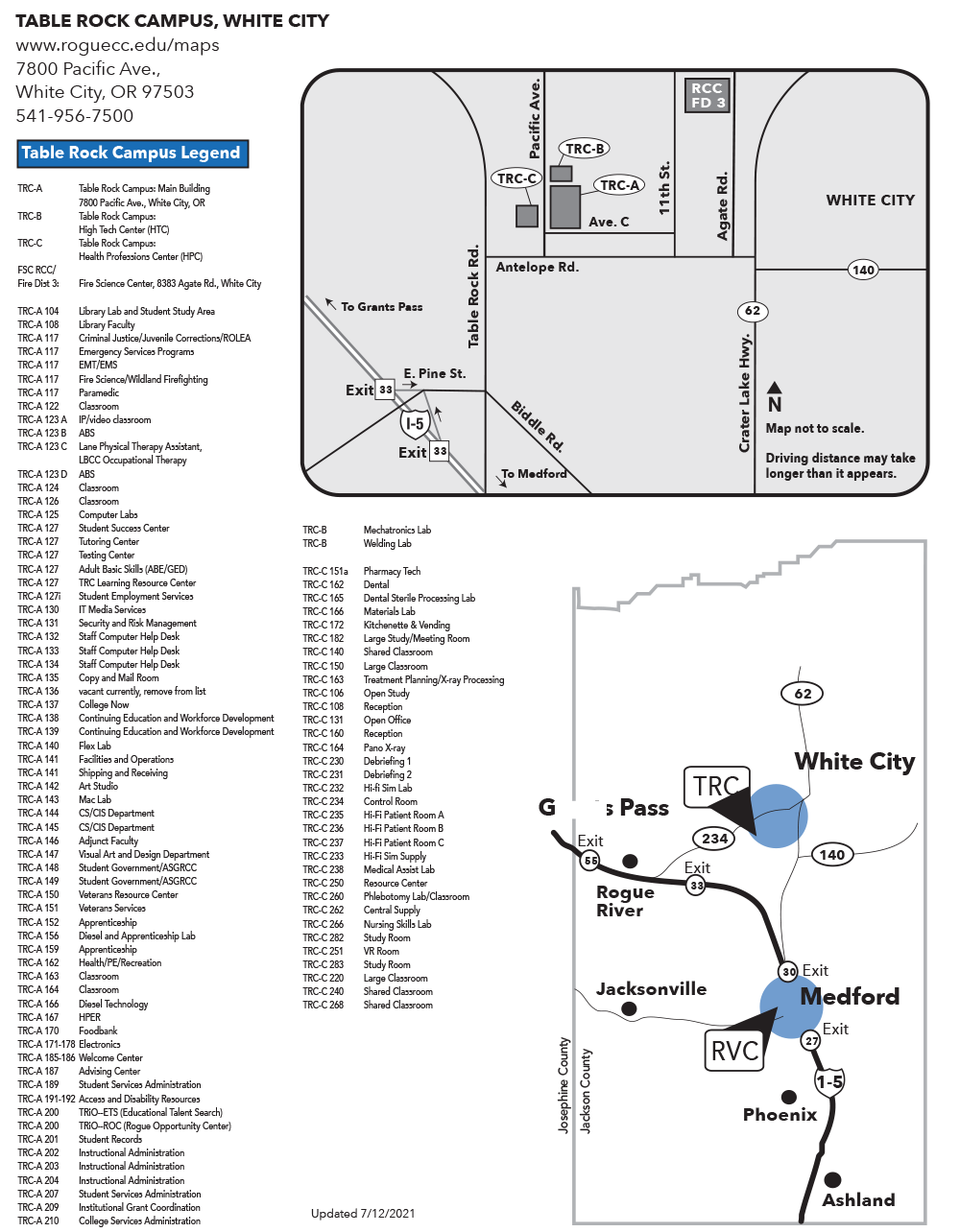 RCC White City Table Rock Campus Map