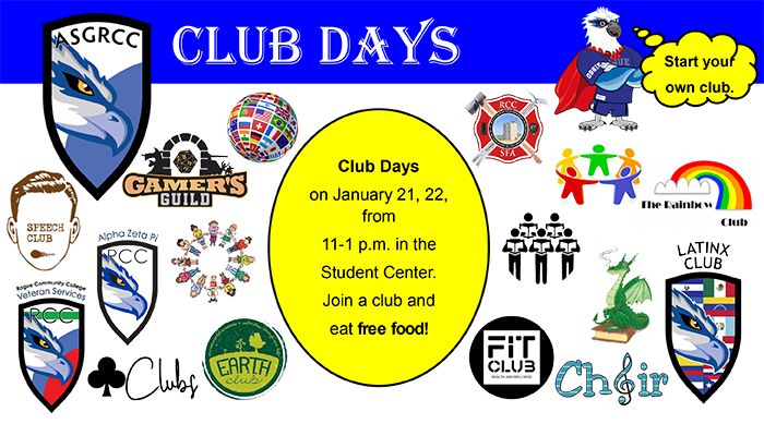 Join RCC student government for club days in the student centers jan 21-22 from 11-1