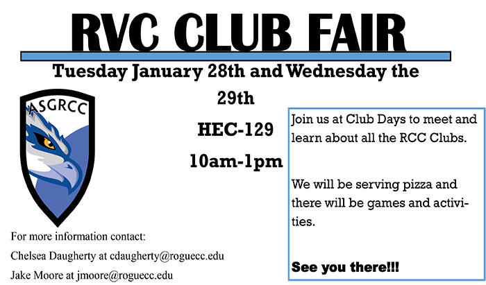 Join RCC student government for club days in the student center on Riverside campus in Medford