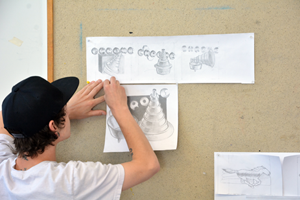 RCC student creating a storyboard