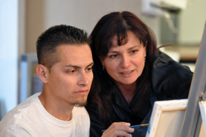 RCC instructor working with student