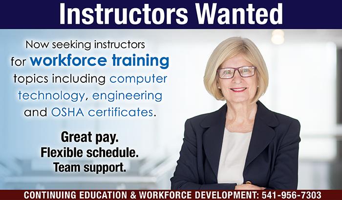 workforce instructors needed at RCC - workforce training STEM and OSHA certificates