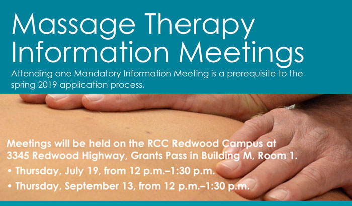 massage therapy info session mandatory to gain entrance into the massage program at RCC - July 19 and September 13